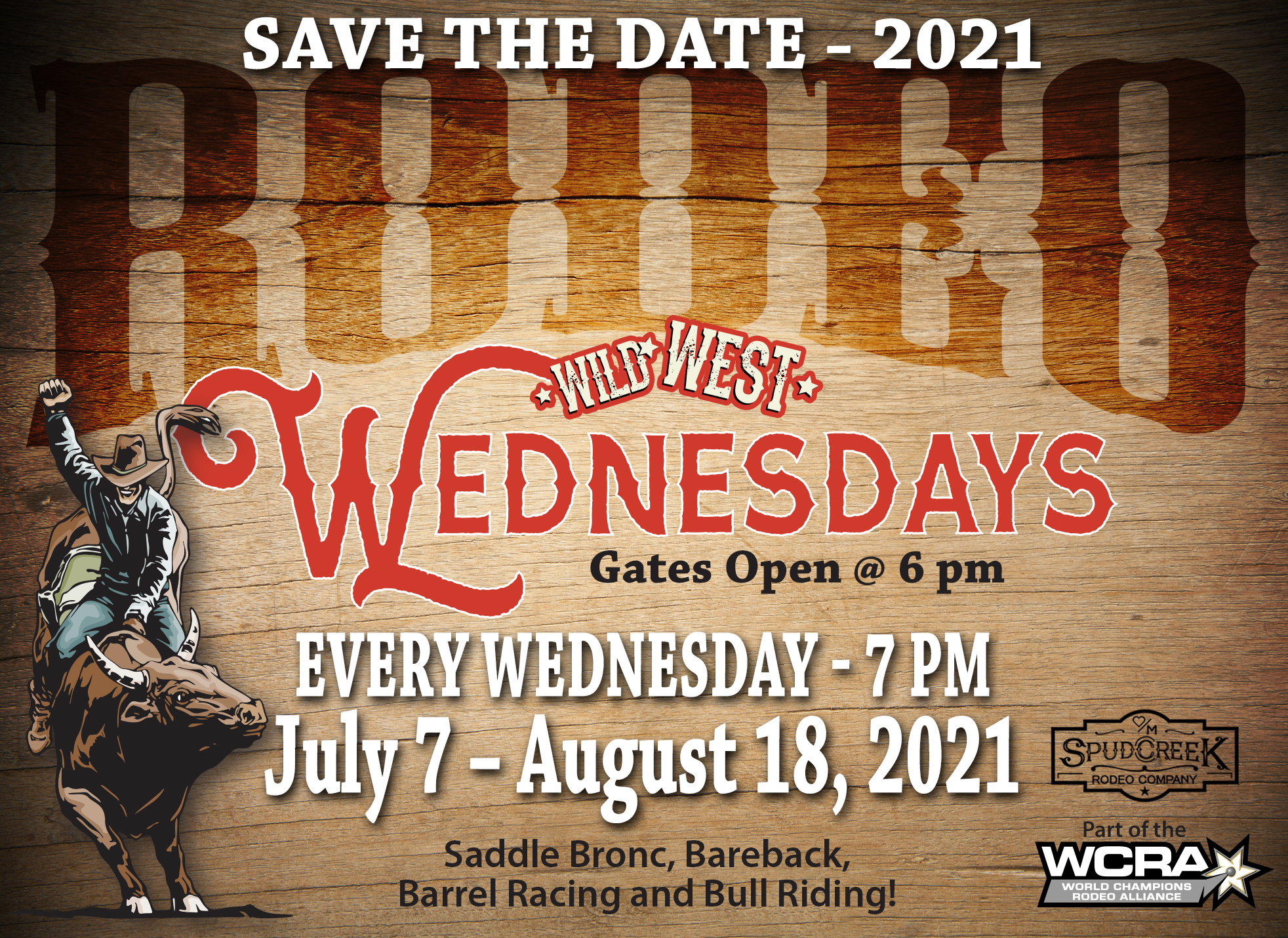 Hartranch 2021 Rodeo Save The Date Wild West Wednesdays Rodeos