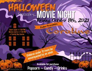 Halloween Movie Night Flyer Activities Calendar