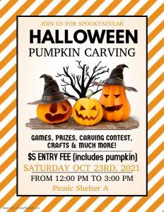 Pumpkin Carving Flyer Activities Calendar